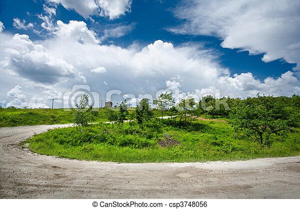 Rural road through trees - csp3748056