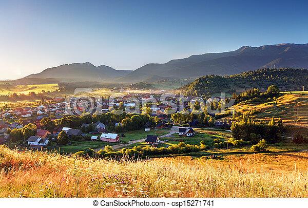 Rural scene in Slovakia Tatras - village Zuberec - csp15271741