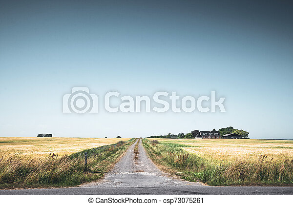 Rural scenery with a road passing a small farm - csp73075261