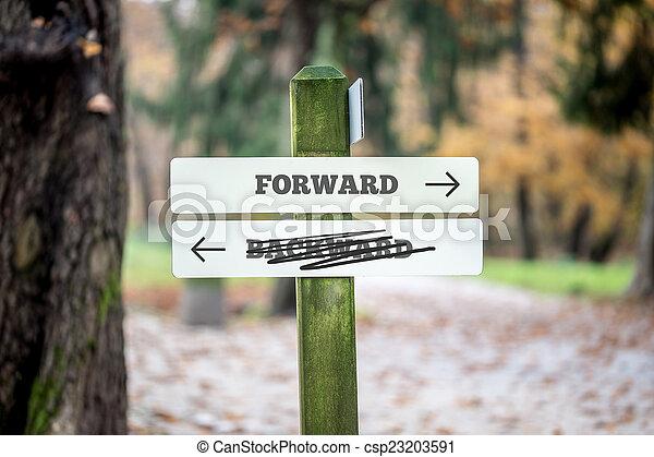Rural signboard - Forward - Backward - csp23203591