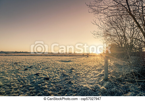 Rural sunrise in the winter with a frozen meadow - csp57027947