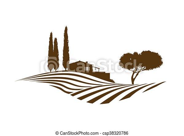 rural, vetorial, mediterrâneo, paisagem - csp38320786