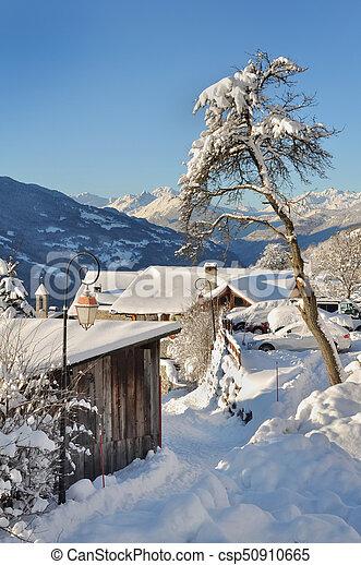 rural village in winter - csp50910665