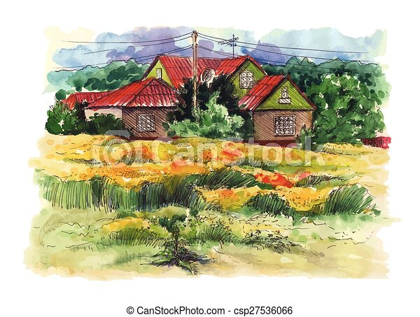 Rural Watercolor Landscape With Old Farmhouse Hand Drawing