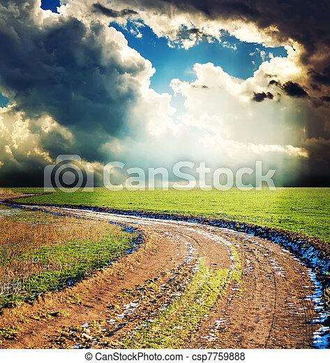 rural way under dramatic sky - csp7759888
