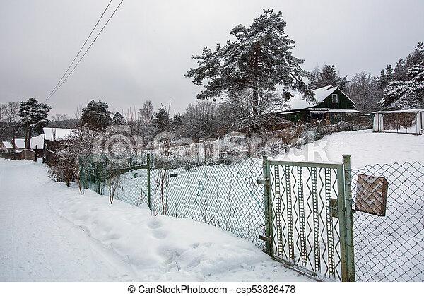 Rural winter landscape in the Republic of Karelia, Russia - csp53826478