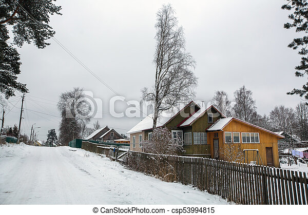 Rural winter landscape in the Republic of Karelia, Russia. - csp53994815