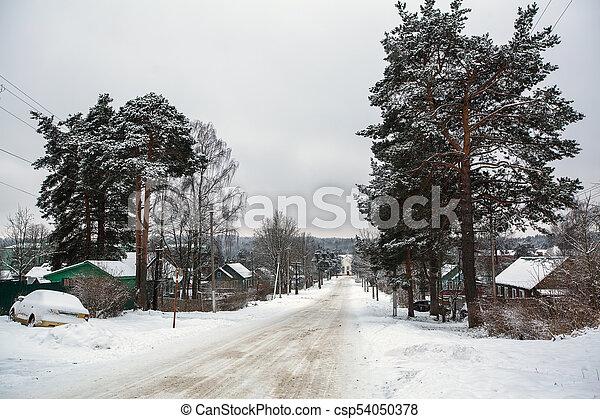 Rural winter landscape in the Republic of Karelia, Russia. - csp54050378