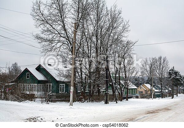 Rural winter landscape in the Republic of Karelia, Russia. - csp54018062