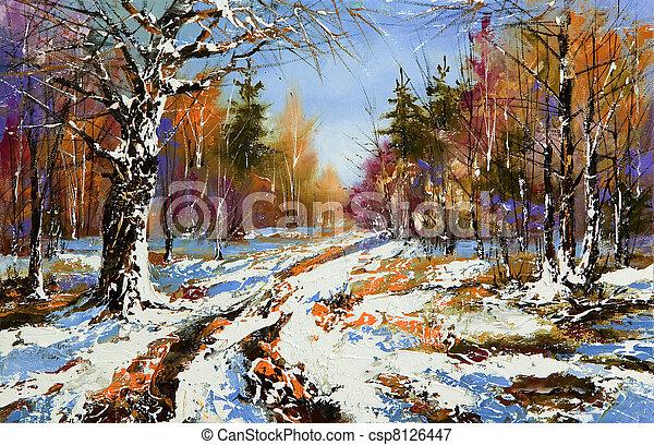 Rural winter landscape - csp8126447