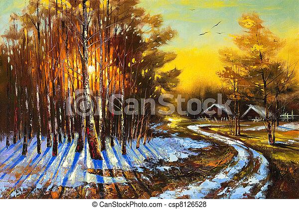 Rural winter landscape - csp8126528