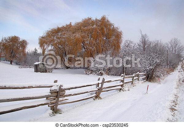 Rural winter landscape - csp23530245