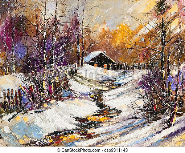 Rural winter landscape - csp9311143