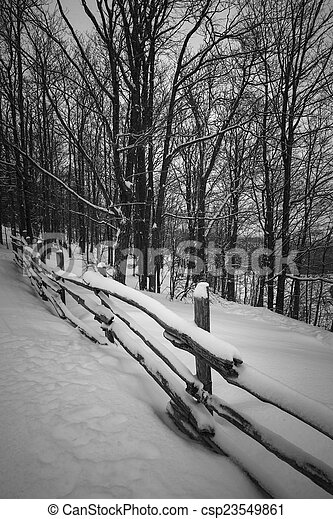 Rural winter scene with fence csp23549861
