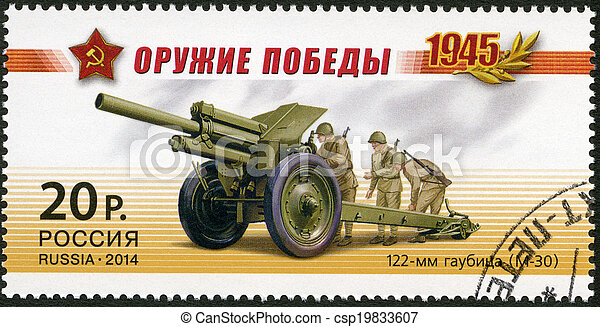 RUSSIA - 2014: shows 122 mm howitzer (M-30), series Weapon of th - csp19833607