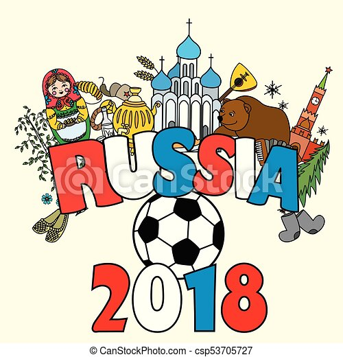 russia 2018 russian symbols travel russia russian traditions and ball vector illustration