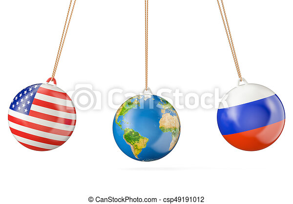 Russia and USA political confrontation concept. 3D rendering - csp49191012