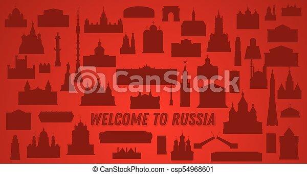 Bienvenido a Rusia. Ilustración de vectores. - csp54968601