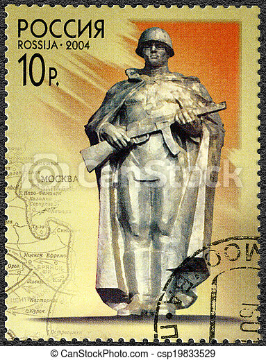 RUSSIA - CIRCA 2004: A stamp printed in Russia shows statue of the Unknown Soldier, the 60th anniversary of the strategic offensive operations of the Soviet military forces in 1944, circa 2004 - csp19833529