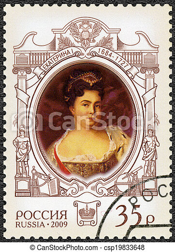 RUSSIA - CIRCA 2009: A stamp printed in Russia shows The 325th anniversary of birth of Catherine I Alekseevna (1684-1727), empress, History of the Russian State, circa 2009 - csp19833648
