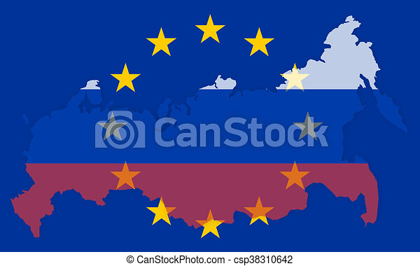 Russia europe states government outline modern map regular design.