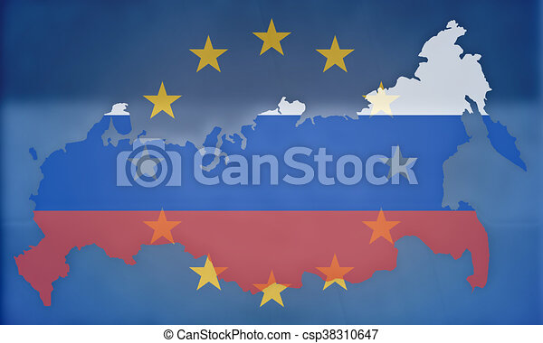 russia europe states government outline modern map regular design