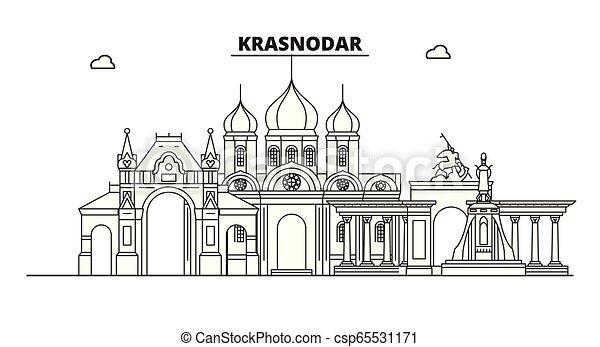 Russia Krasnodar City Skyline Architecture Buildings Streets Silhouette Landscape Panorama Landmarks Editable