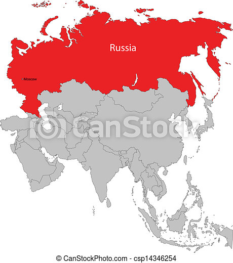 Russia map Location of russia on the europe and asia clipart