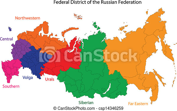 Russia map. Administrative division of the russian federation.
