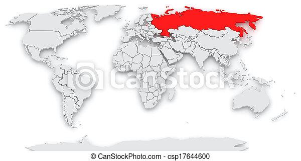 russia., mapa, world. - csp17644600