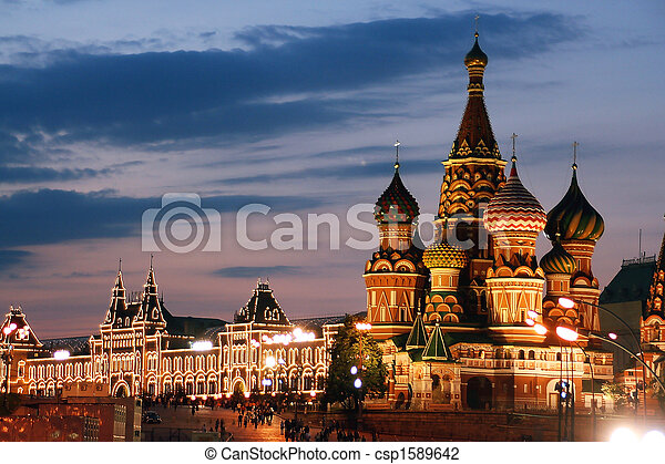 Russia, Moscow, St. Basil Cathedral, - csp1589642