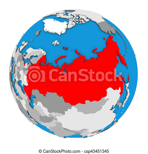 Russia on globe map of russia highlighted in red on globe 3d russia on globe csp43451345 gumiabroncs Images
