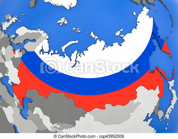 Russia on globe map of russia with embedded national flag on globe russia on globe csp43952006 gumiabroncs Choice Image
