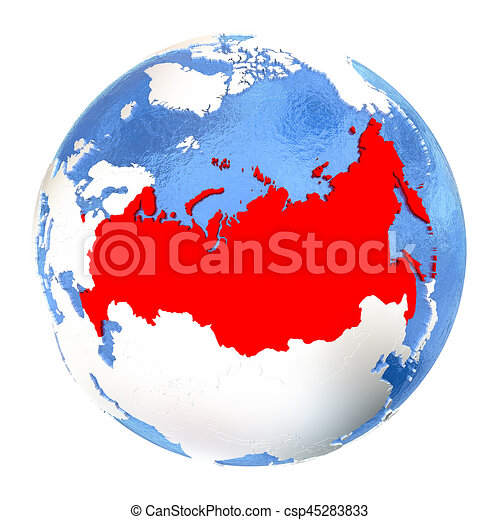 Russia on globe isolated on white map of russia on elegant russia on globe isolated on white csp45283833 gumiabroncs Choice Image