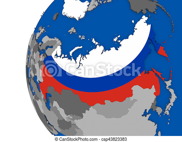 Russia on globe map of russia with its flag on globe 3d stock russia on globe csp43823383 gumiabroncs Images