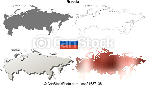Russia Outline Map Set Russia Blank Detailed Vector Outline Map Set