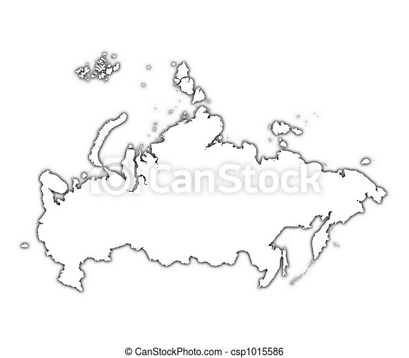 Russia Outline Map With Shadow Detailed Mercator Projection