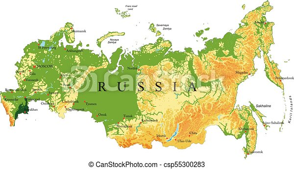 Cartina Siberia Russia.Russia Relief Map Highly Detailed Physical Map Of Russia In Vector Format With All The Relief Forms Regions And Big Canstock