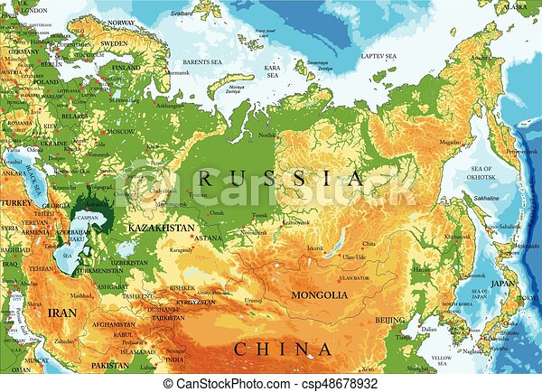 Russia relief map - csp48678932