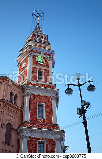 Russia, Saint Petersburg. The Duma Tower, Nevsky, 33 with Christmas lights - csp8203775