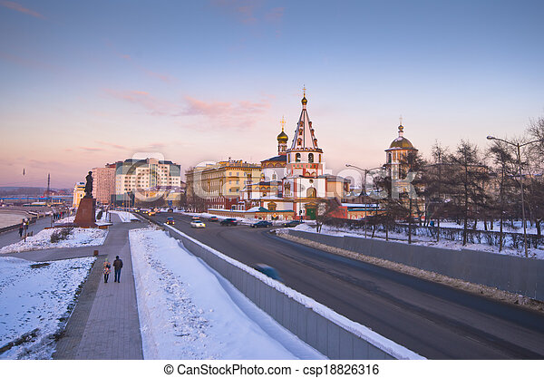 Russia, Siberia, Irkutsk city, the Cathedral of the Epiphany, 1718 year of Foundation - csp18826316