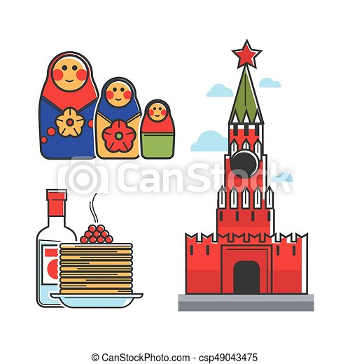 russia soviet union symbols for ussr russian travel tourist attraction vector icons