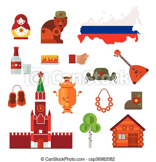 Russia Vector Set Russia Landmarks Symbols And Russia Icons Set