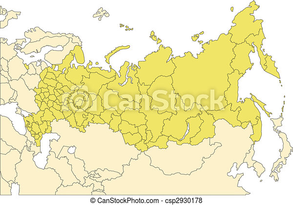 Russia with administrative districts and surrounding countries ...