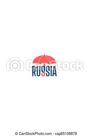 Russia Word Under Umbrella Bad Weather Metaphor