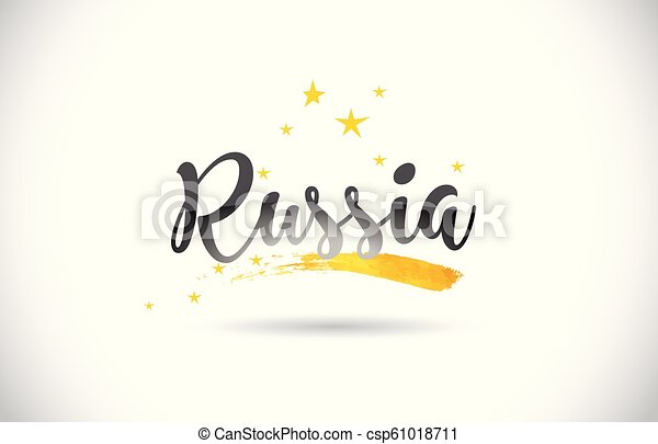 Russia Word Vector Text with Golden Stars Trail and Handwritten Curved Font