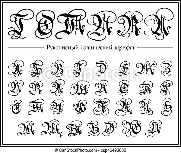 Russian alphabet, Gothic font, typeface, all Uppercase cyrillic letters,  hand drawn blackletters