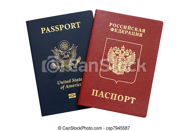 Russian and American passports - csp7945587
