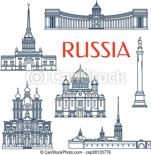 Russian architectural attractions thin line icons