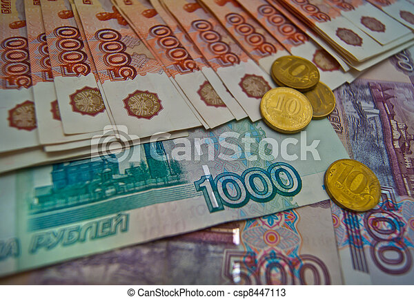 Russian banknotes and coins background - csp8447113